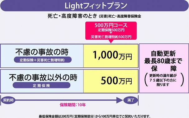 定期保険 200万 アフラックの定期保険Lightフィットプラン