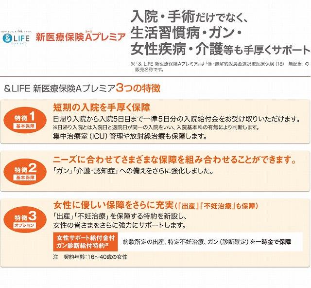 三井住友海上あいおい生命 女性 特約 &LIFE新医療保険Aプレミアの特徴